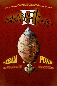 Steampunk Airship Poster Design Illustration