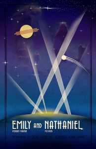 Art Deco Space Planetary Wedding Poster